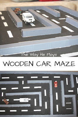 Wooden car maze from two angles