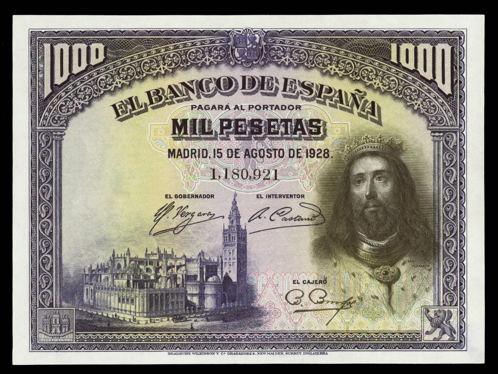 Spain banknotes 1000 Pesetas note 1928
