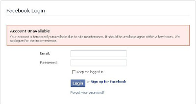 Facebook account is temporarily unavailable due to site maintenance