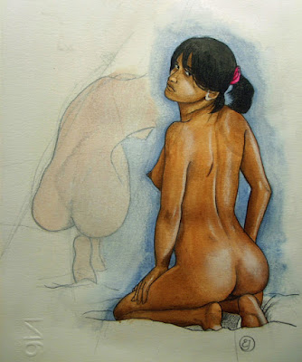 esquisse,dessin,crayons,aquarelle,modèle,fille nue,couleurs