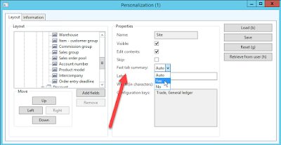 Select Yes in the Personalization form for FastTab Summary to add a field to the FastTab