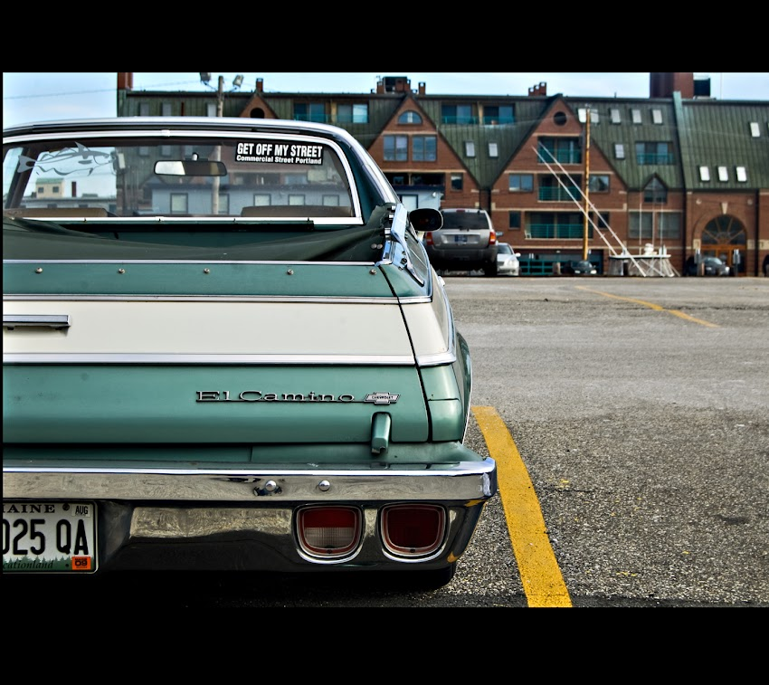 Portland, Maine USA February 2010 photo by Corey Templeton of El Camino parked on Long Wharf near DiMillo's with GET OFF MY STREET Commercial street bumper sticker.