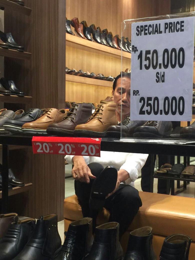 Mengintip Jokowi Yang Tak Canggung Beli Sepatu Diskon Magone 2016 Produk Umkm Bumn Lapis Surabaya Panjang Hj Enong