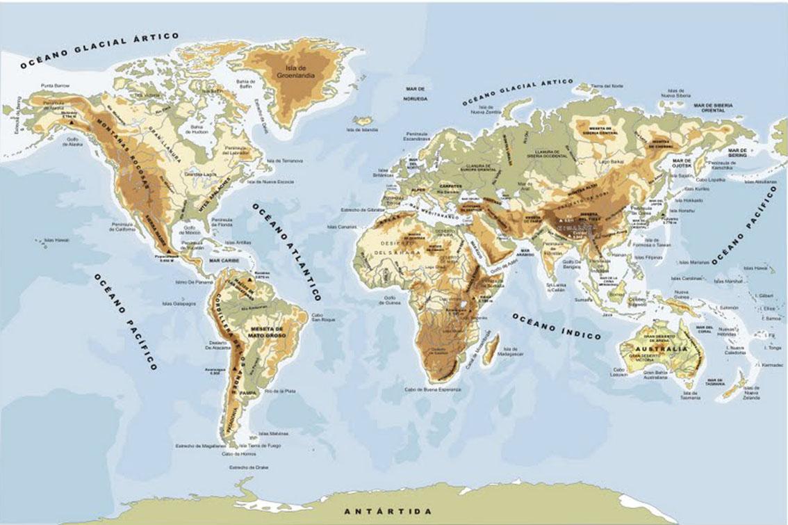 Planisfério Físico | Mapa Mundi