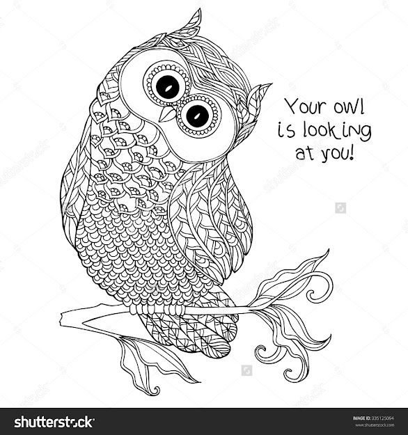 Coloring Book For Adult And Older Children Coloring Page With Cute Owl  Outline Drawing