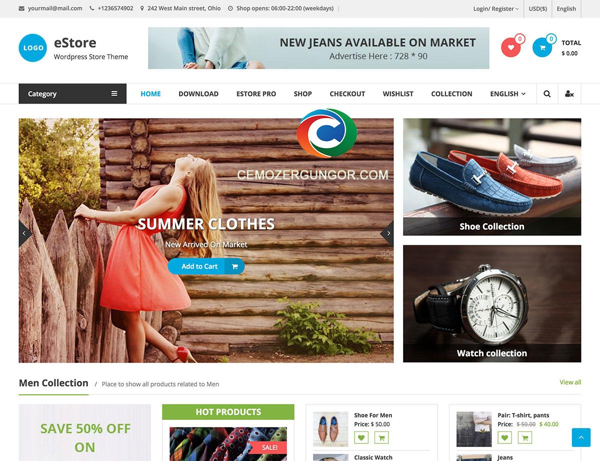 WordPress Ücretsiz E-Ticaret Teması (eStore) İndir