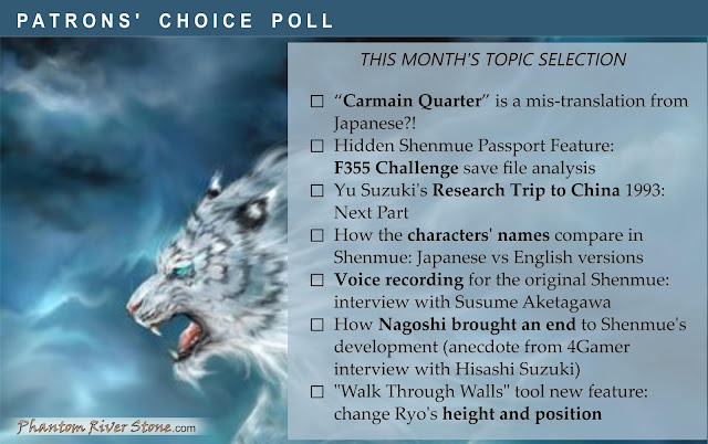 The selection of topics for our  latest Patrons' Choice poll.