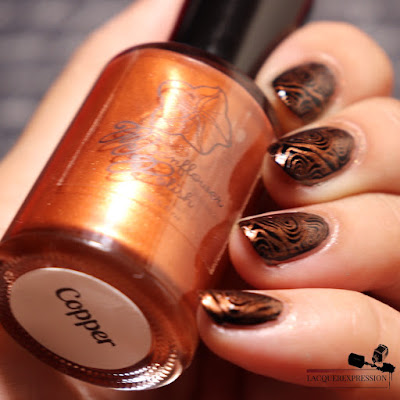 swatch of nail stamping polish Copper by Moonflower Polish