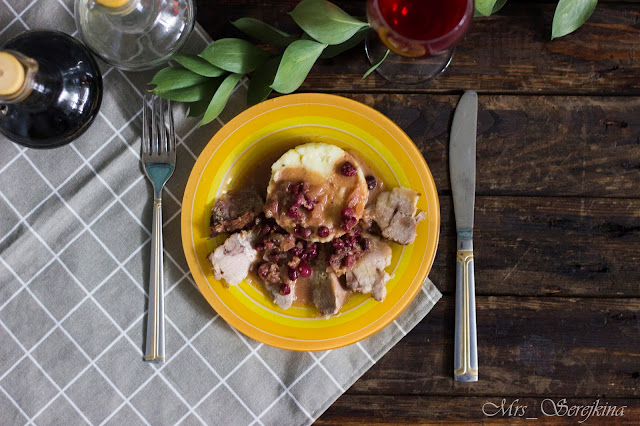 Meat with cranberries and mustard