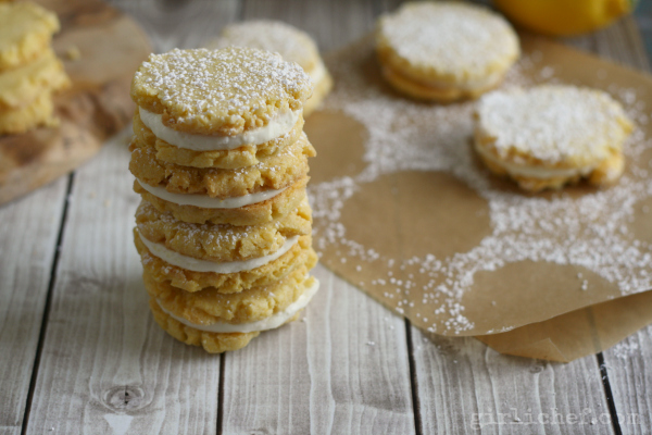 Lemon Cornmeal Sandwich Cookies | www.girlichef.com