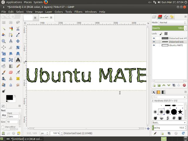 Ubuntu MATE running gimp image editor