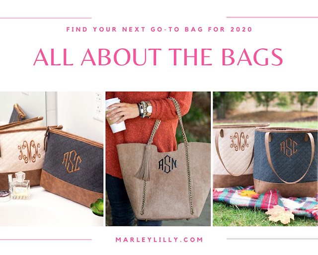 monogram cosmetic bags, monogram totes, quilted totes