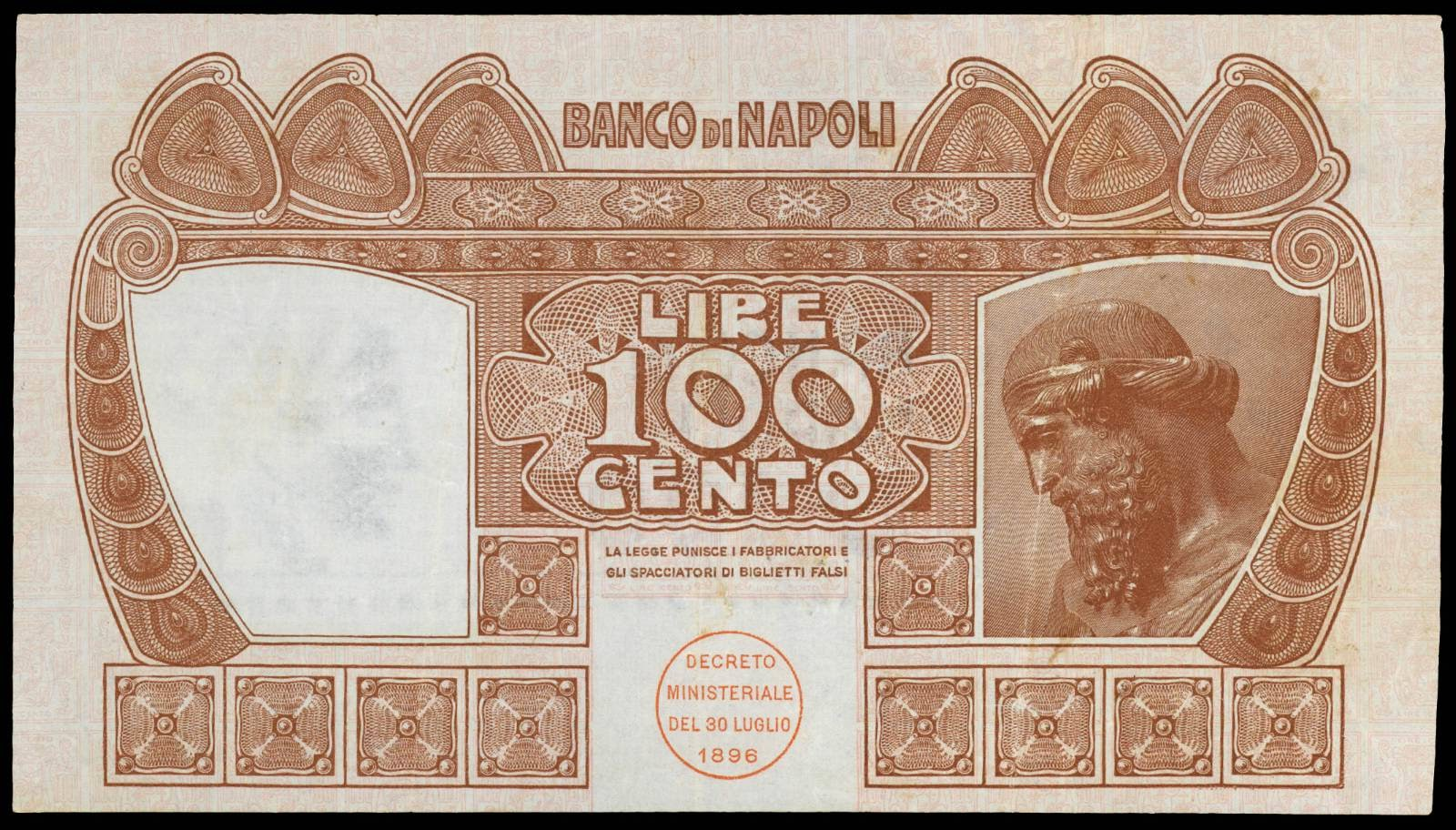 Italy old paper money 100 Lire banknote 1915 Banco di Napoli