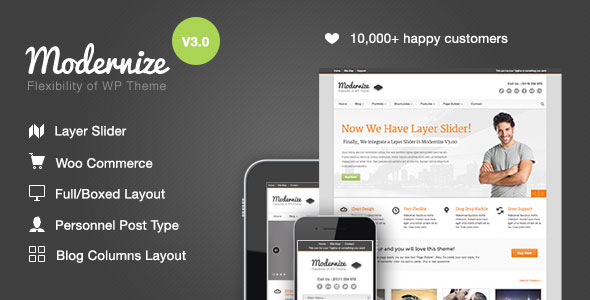 Free Download latest version of Modernize V3.20 - Flexibility of WordPress Theme