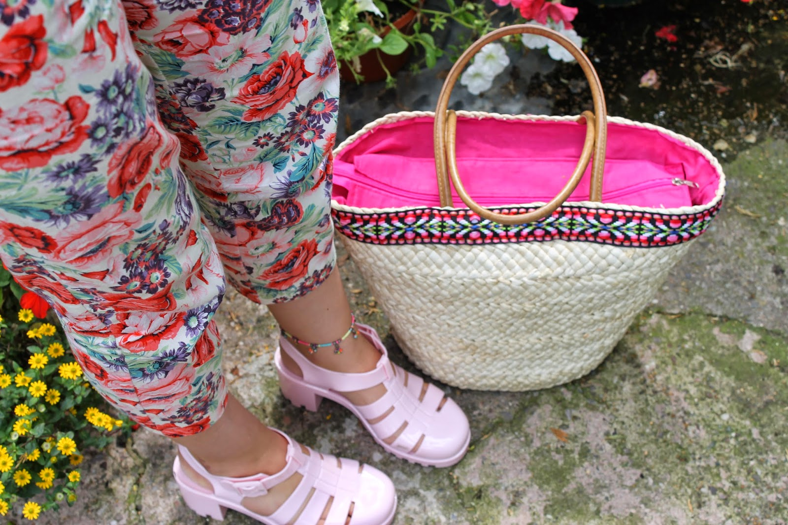 Floral trousers pink jelly shoes