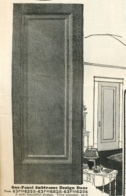 one-panel subframe door, Sears interior doors in 1930 Sears Modern Homes catalog