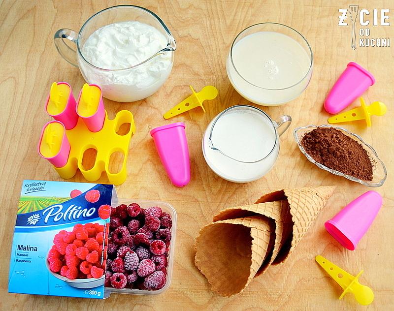 czekoladowe lody, domowe lody, jak zrobic lody, maliny, maliny i czekolada, deser lodowy, skladniki na lody, z czego robi sie lody, najlepsze lody, zycie od kuchni