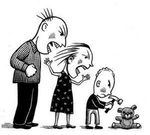 familia gritando