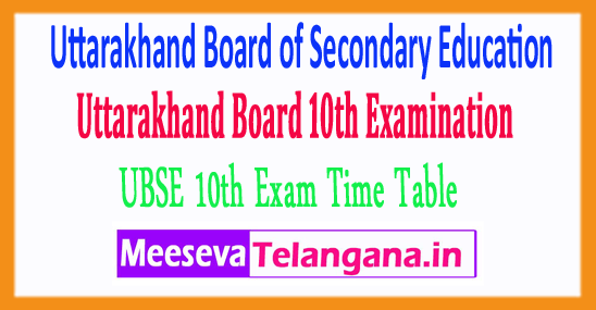 Uttarakhand Board of Secondary Education 10th Exam Time Table UBSE 2019 Download