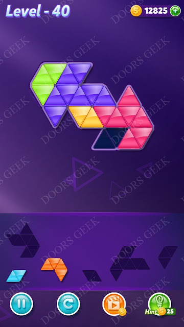 Block! Triangle Puzzle 5 Mania Level 40 Solution, Cheats, Walkthrough for Android, iPhone, iPad and iPod