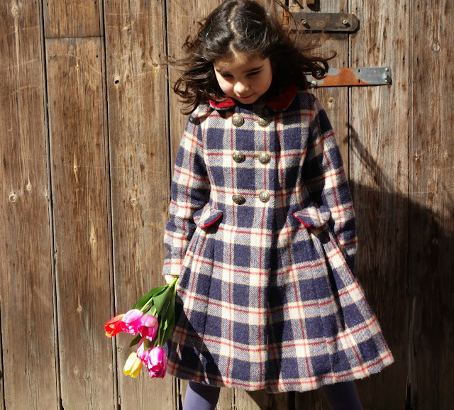 Burda style girls double breasted coat pattern 145 plaid coat
