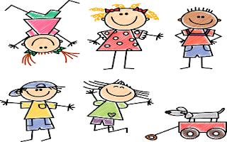 Bambini disegnati e colorati