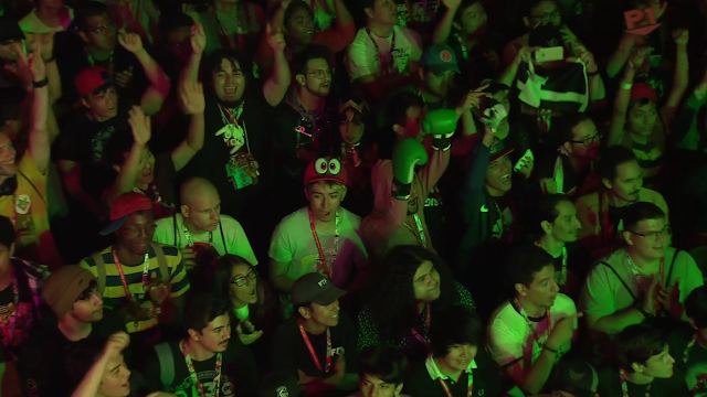 Nintendo E3 2018 tournament Cappy hat in audience cosplay