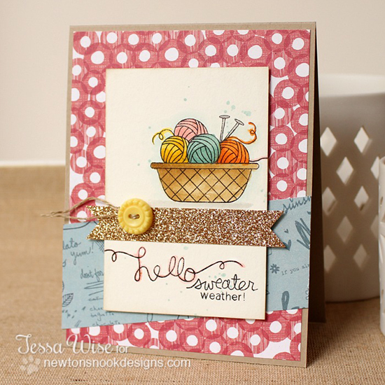 Sweater Weather card by Tessa Wise for Newton's Nook Designs - Basket of Wishes Stamp Set