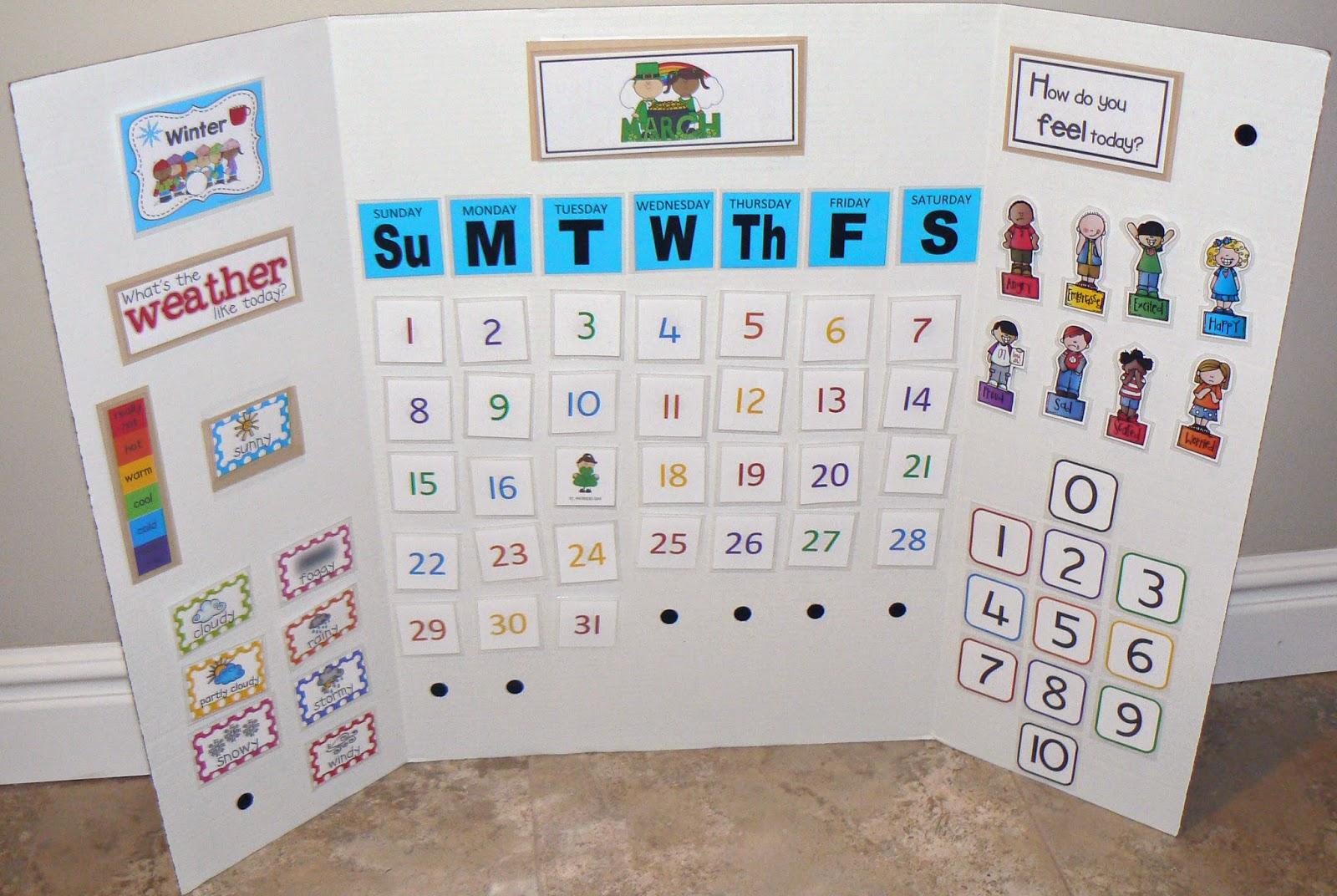 Kindergarten Learning Calendar : Ourhomecreations preschool learning board