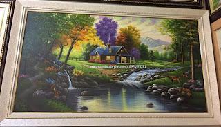 tranh phong cảnh nước ngoài ngôi nhà trong rừng