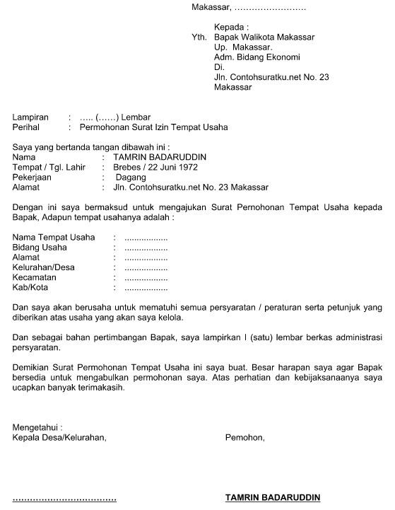 contoh surat permohonan untuk tempat usaha file word idnoffice