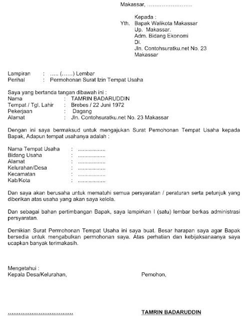 Contoh Surat Permohonan Untuk Tempat Usaha File Word