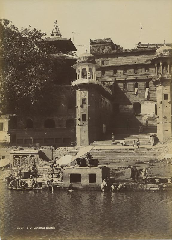Banares (Varanasi) Ghat on River Ganges - c1900's