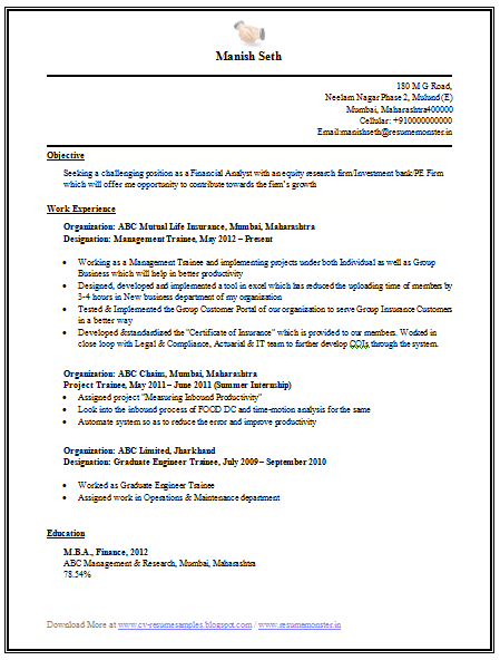 engineer with mba resume