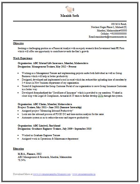 mba graduate resume sample