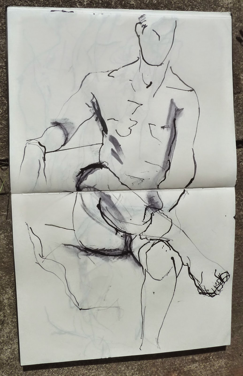 Actor sitting 1, ink and  twig drawing 2014