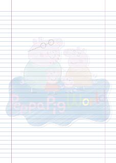 Folha Papel Pautado Peppa Pig World rabiscado PDF para imprimir na folha A4