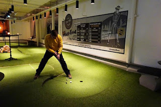 At Swing by Golfbaren in Stockholm, Sweden last month. The course became the 800th visited on our Crazy World of Minigolf Tour