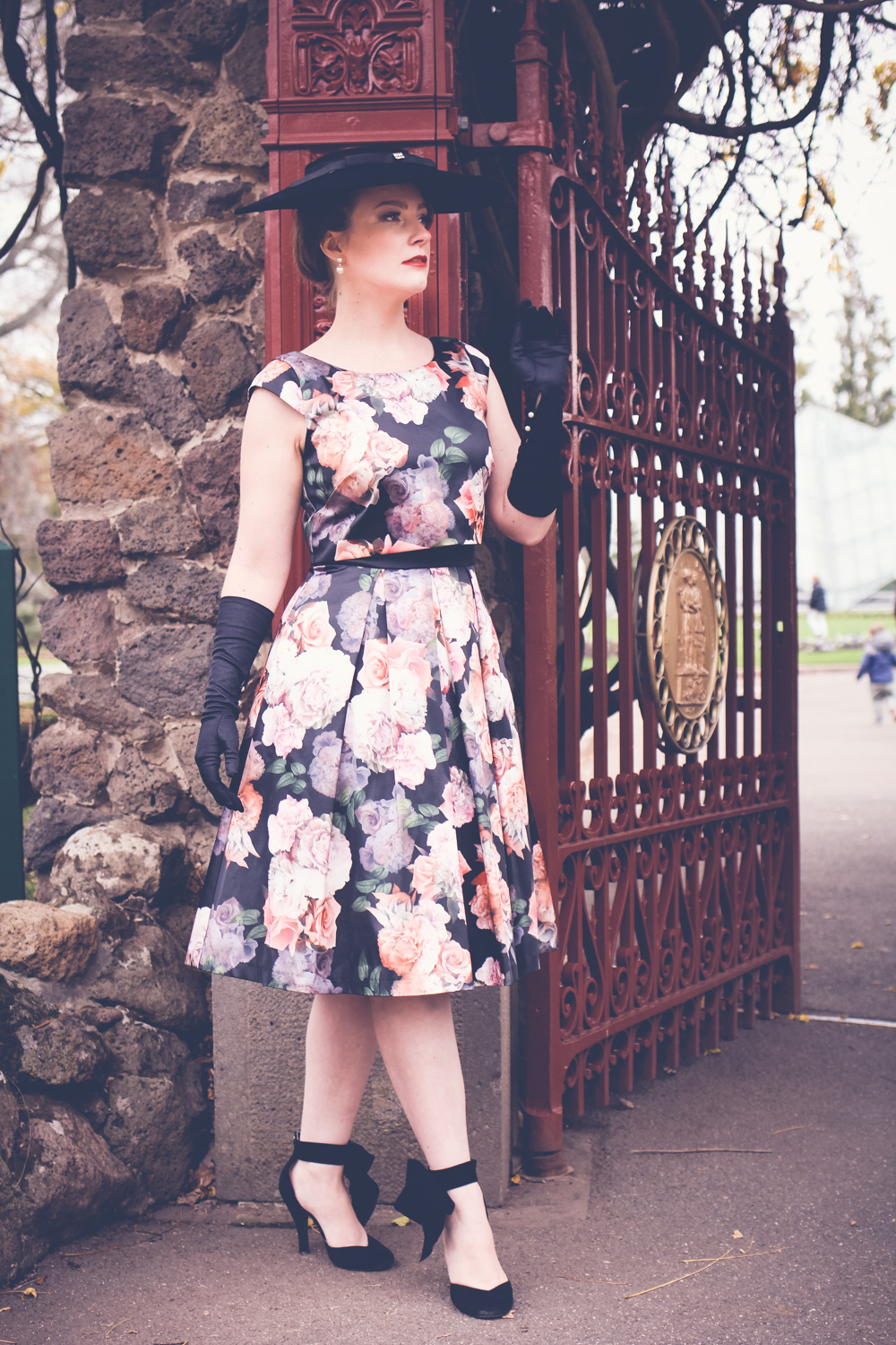@findingfemme wears Review Australia winter floral dress at Ballarat Botanic Gardens