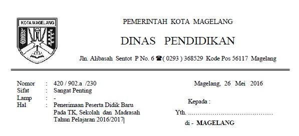 Download Juknis PPDB TK/SD/SMP/SMA/MA/SMK Online Kota Magelang 2016/2017