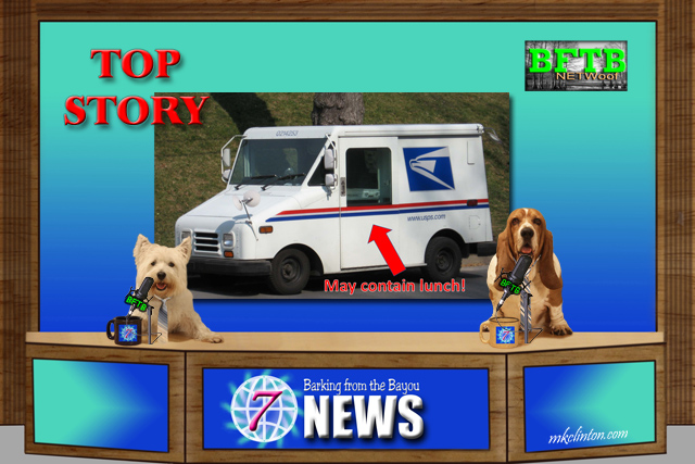 BFTB NETWoof News with mail truck on screen