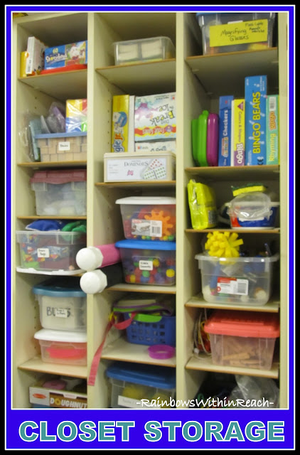 photo of: Closet of Organized Materials in Tubs and Bins