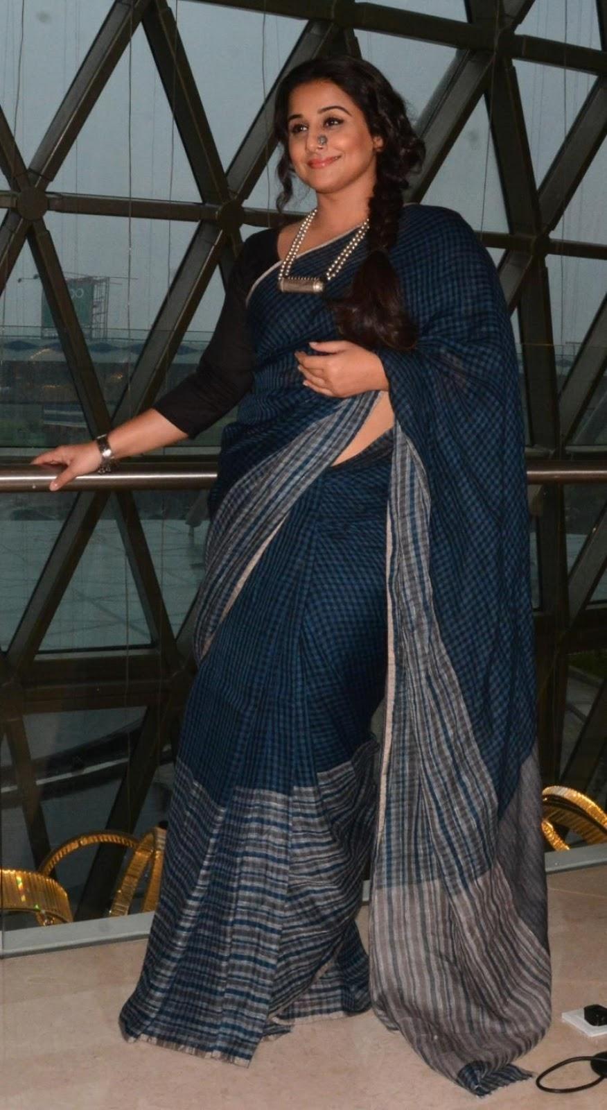 Vidya Balan Stills In Blue Saree At New Film Promotion
