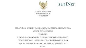 Download PKPU RI Nomor 20 Tahun 2018