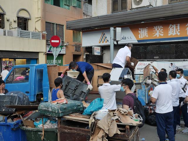 Cleanup from Typhoon Hato on Rua de Cinco de Outubro