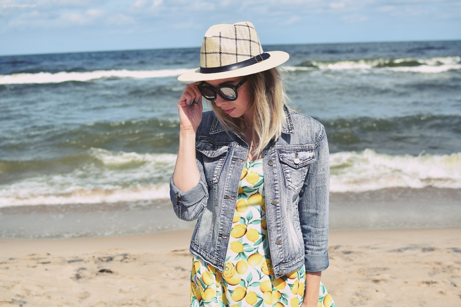 morze, sukienka, zaful, kapelusz, szaleo, lato, woda, Bałtyk, wakacje, moda,