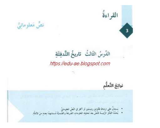 حل درس تاريخ التدفئة مادة اللغة العربية للصف السابع الفصل الاول2020- تعليم الامارات