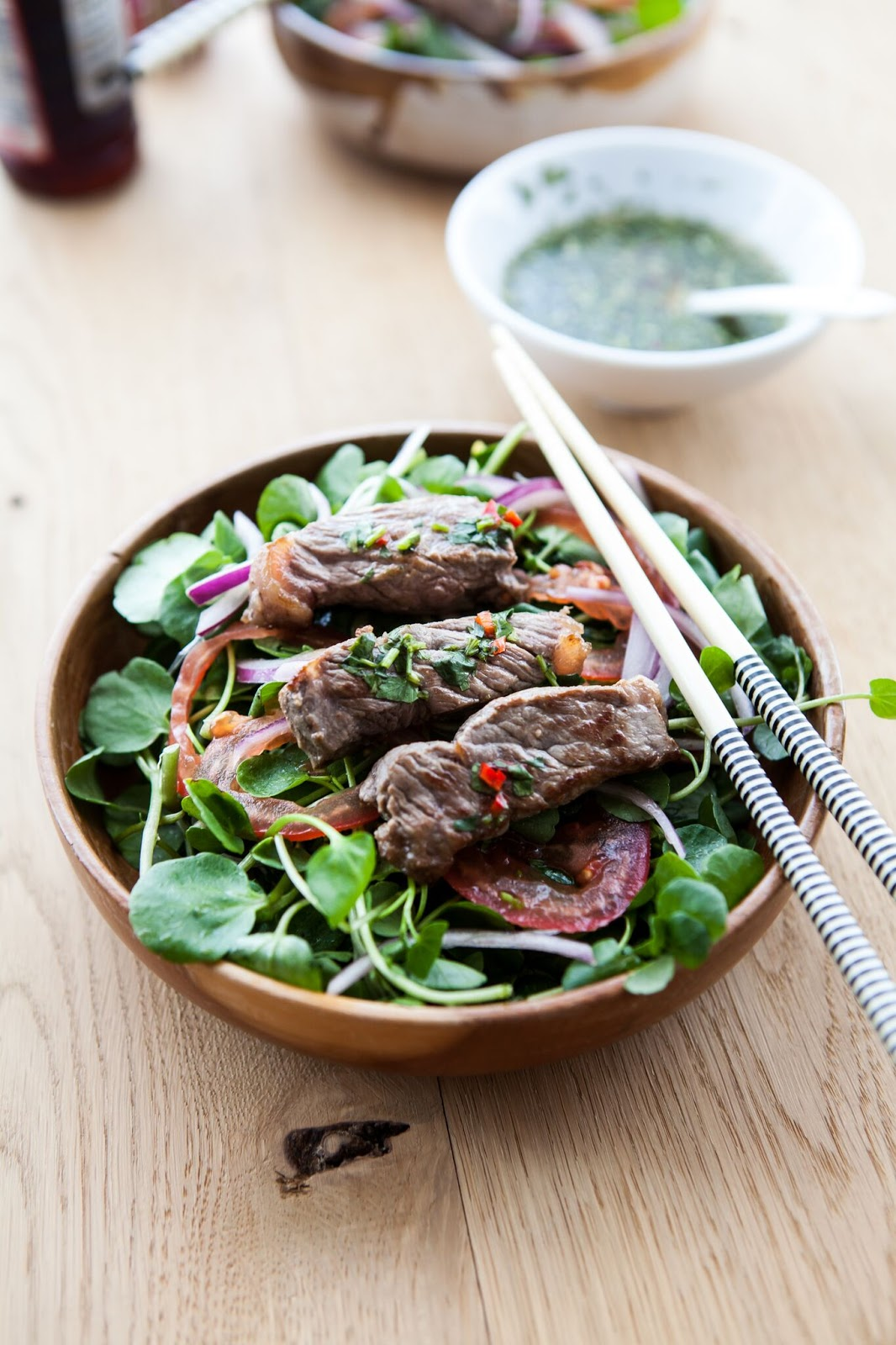 Asian-Style Warm Beef and Watercress Salad with Nuoc Cham Dressing