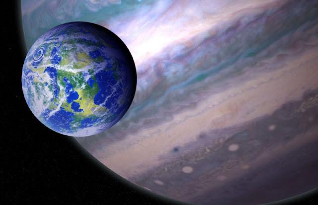 ilustração artística de uma lua que orbita um planeta extrassolar
