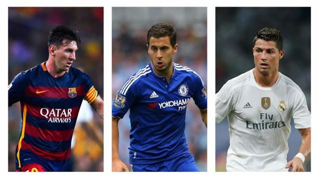 Lionel Messi, Eden Hazard, Cristiano Ronaldo
